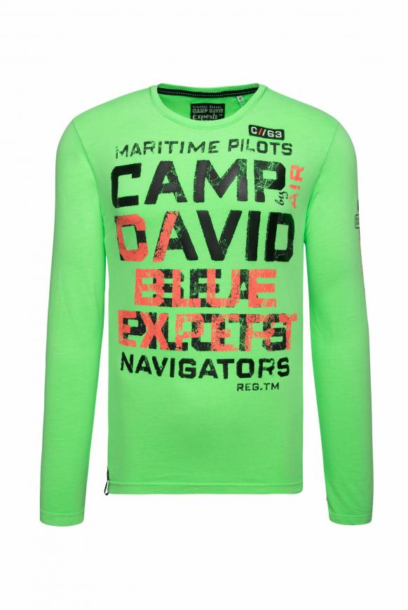 Langarmshirt mit Used Prints neon green