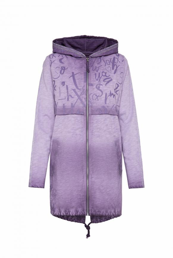 Lange Kapuzenjacke mit Print und Tapes magic violet
