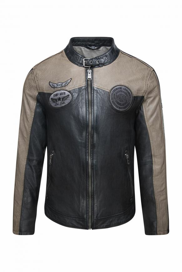 Lederjacke im Racing Look mit Badges black
