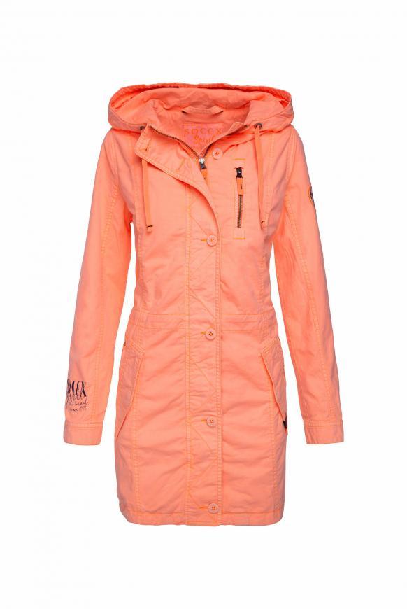 Leichter Parka mit Kapuze und Taillenband neon orange