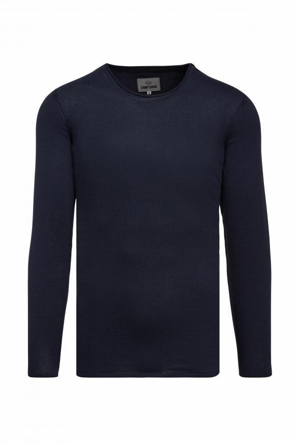 Leichter Pullover mit Rollsäumen absolute blue