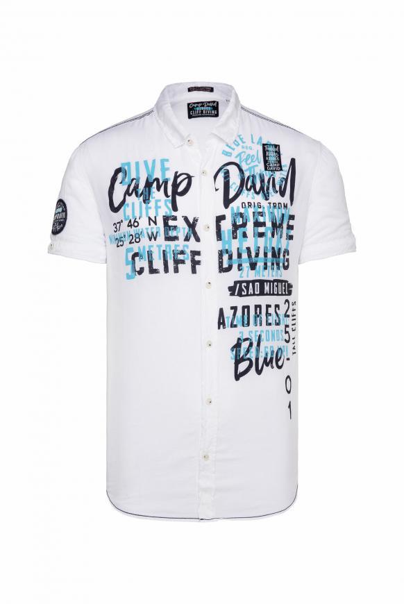 Leichtes Freizeithemd mit Frontprint new white