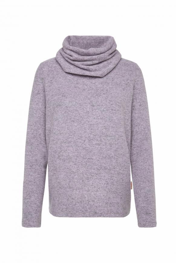 Melierter Pullover mit großem Rollkragen violet melange