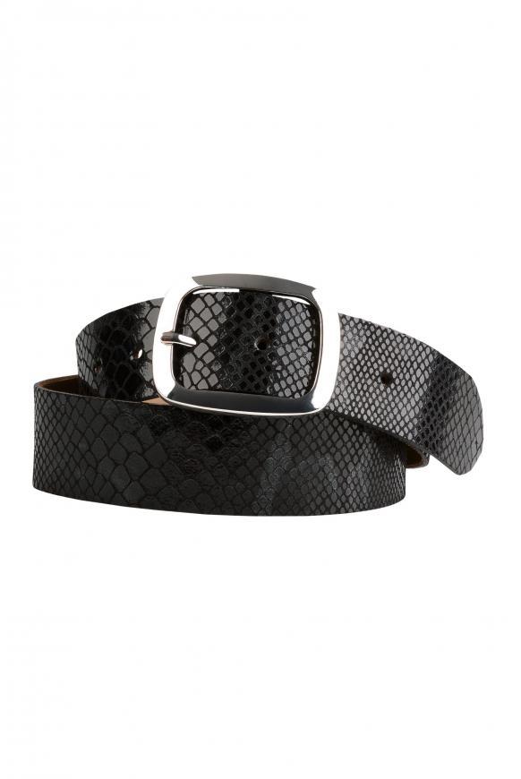 Metallic-Gürtel mit Snake-Muster black