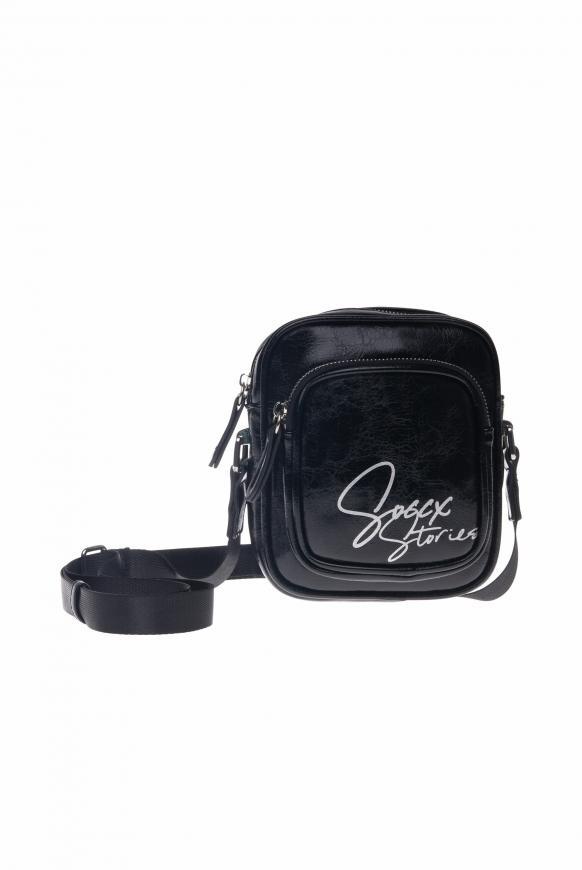 Minibag aus Kunstleder mit Logo Print black