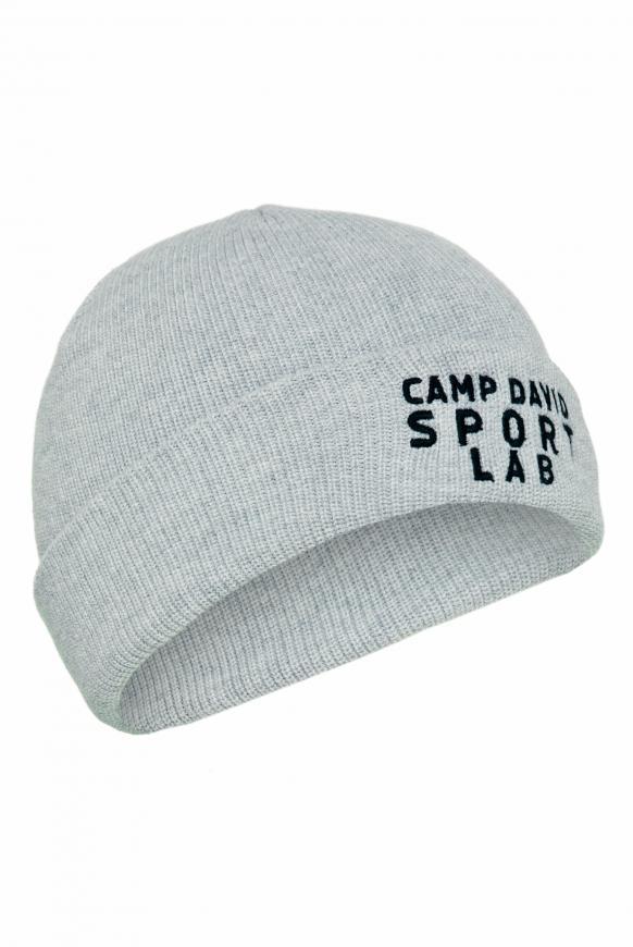 Mütze mit Logostick und Rubber Patch grey melange