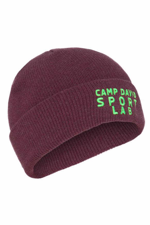 Mütze mit Logostick und Rubber Patch winter red