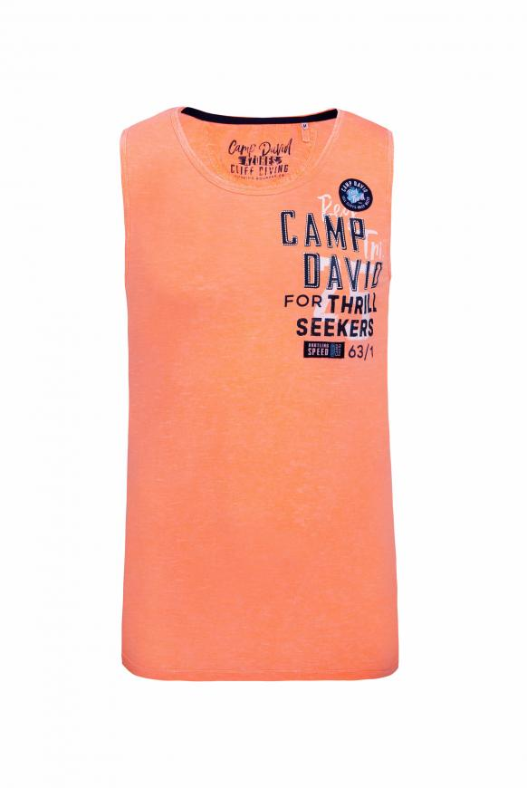 Muskelshirt mit Logo Print und Patches neon orange
