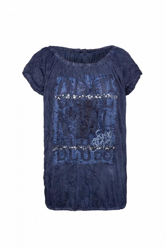 Off-Shoulder-Shirt mit Knitter-Effekt moroccan blue