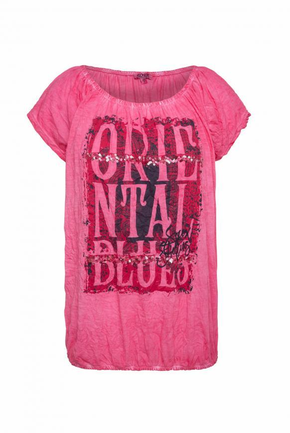 Off-Shoulder-Shirt mit Knitter-Effekt oriental pink
