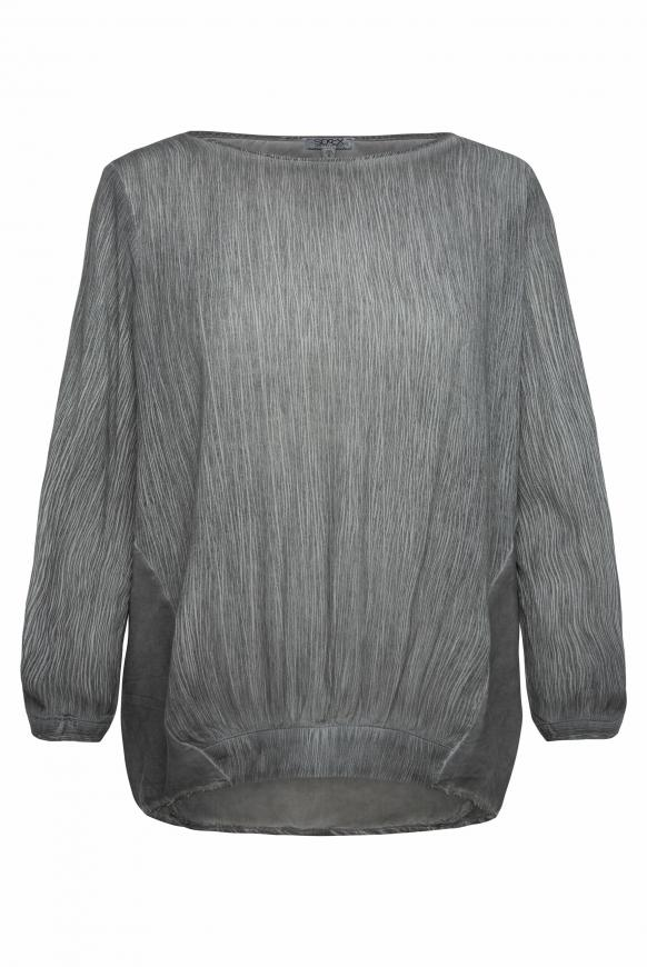 Oversized-Bluse im Materialmix grey phantom