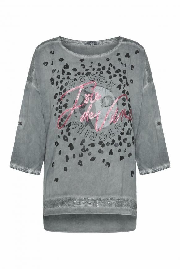 Oversized-Bluse mit Pailletten und Artwork dark ash