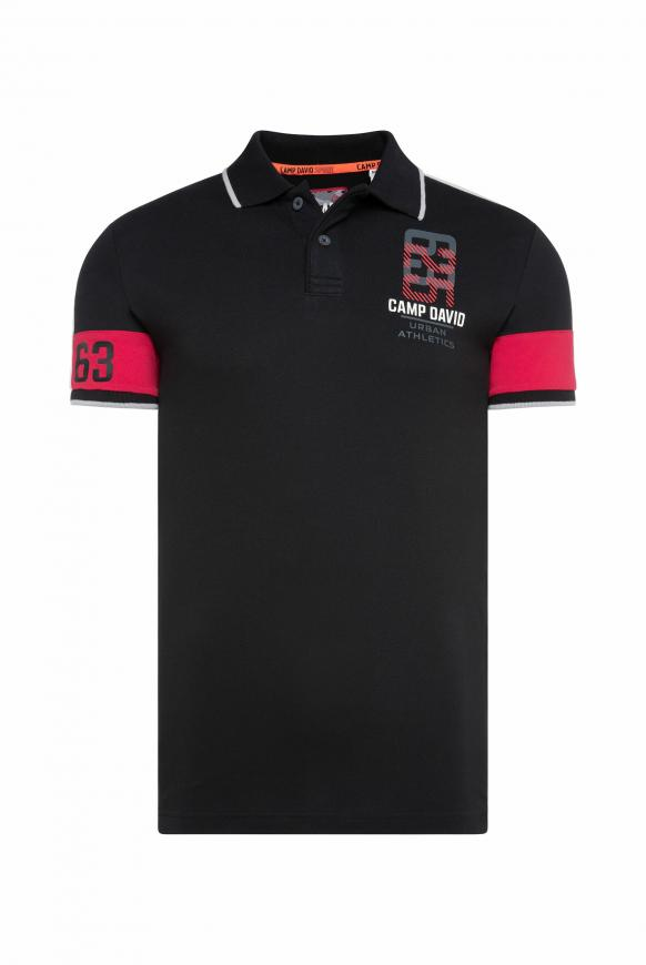 Pikee-Polo mit Colour-Design black