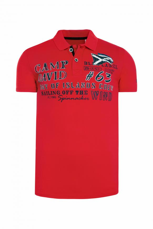 Pikee-Polo mit Prints und Stickereien speed red