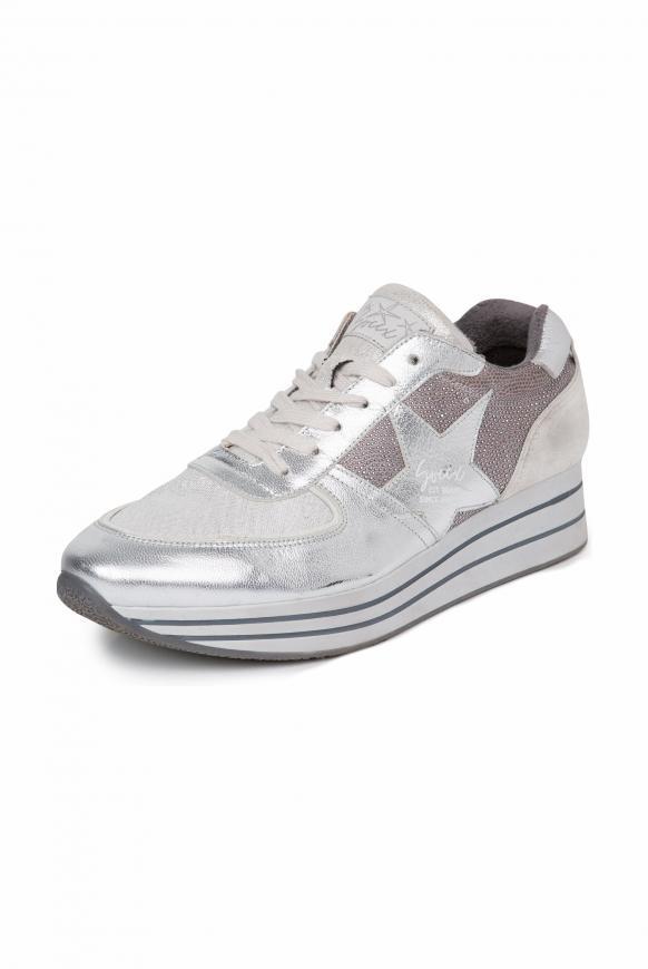 Plateau-Sneaker mit Metallic-Effekten silver