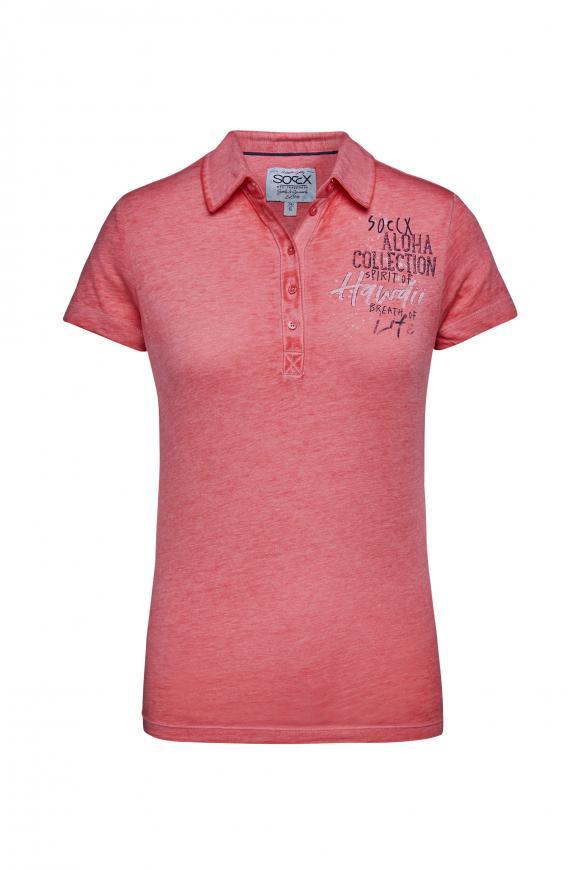 Polo mit Ausbrenner-Effekten und Prints red summer