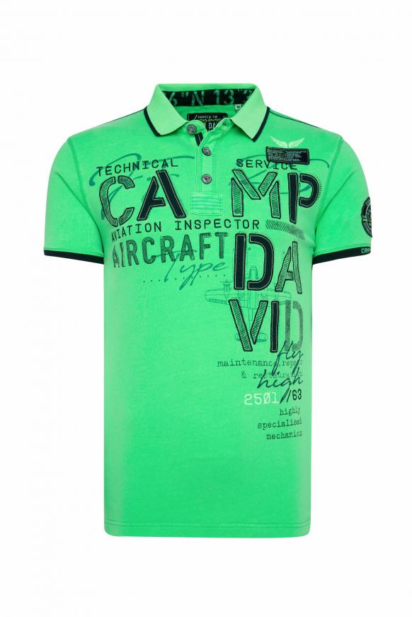 Polo mit Label-Applikationen und Tapes electric green