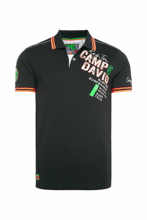 Poloshirt aus Flammgarn mit Neon-Details black