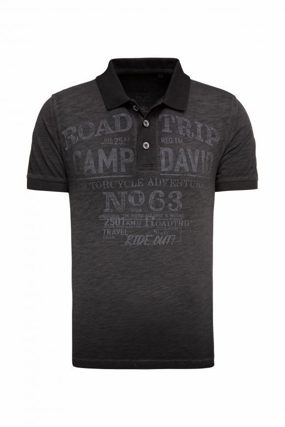 Poloshirt aus Flammgarn mit Used Prints black