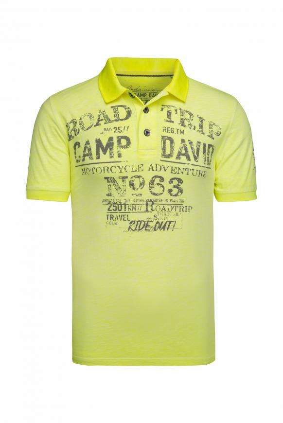 Poloshirt aus Flammgarn mit Used Prints neon lime