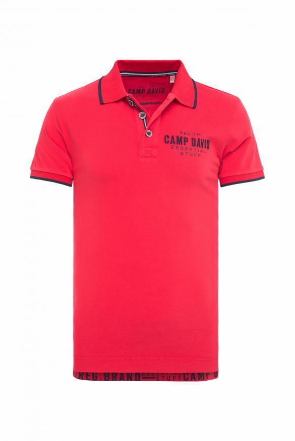 Poloshirt aus Jersey mit kleinem Artwork royal red