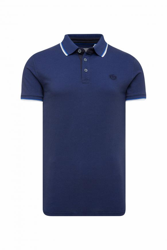 Poloshirt aus Pikee mit Kontraststreifen absolute blue