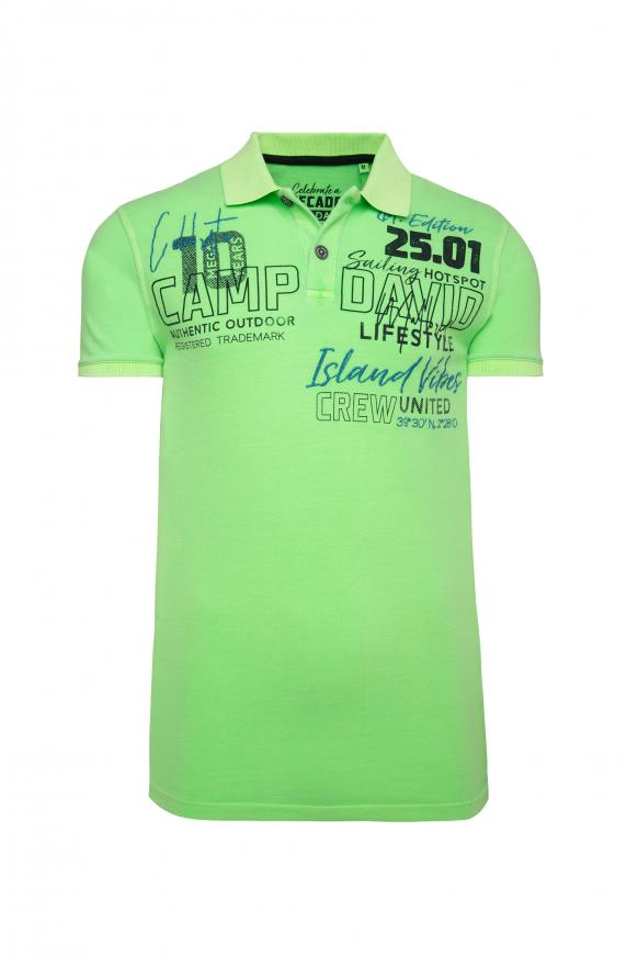 Poloshirt aus Pikee mit Label-Applikationen neon green