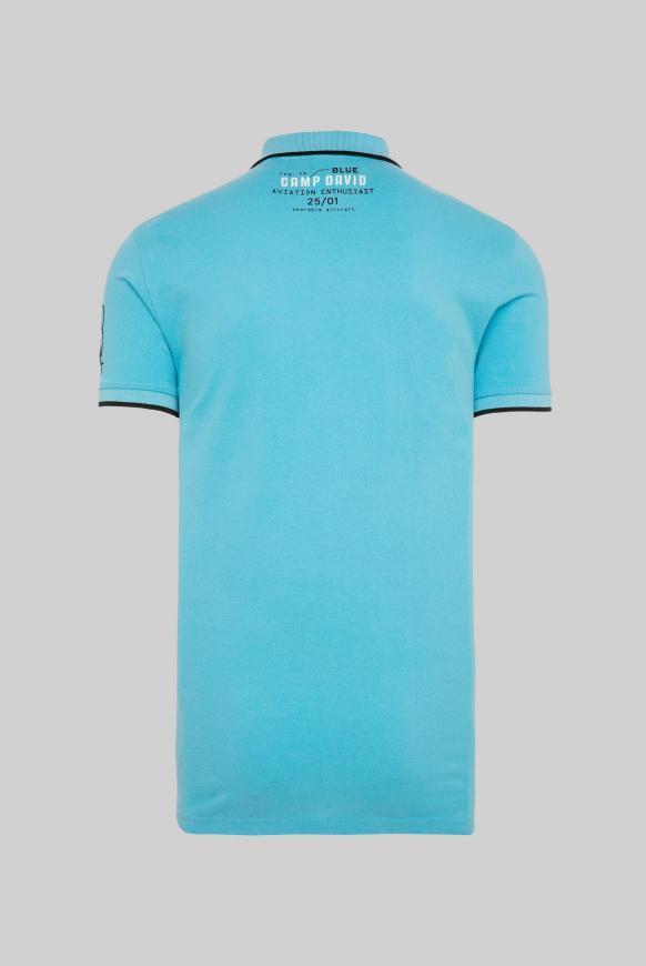 Poloshirt aus Pikee mit Label-Applikationen diving blue