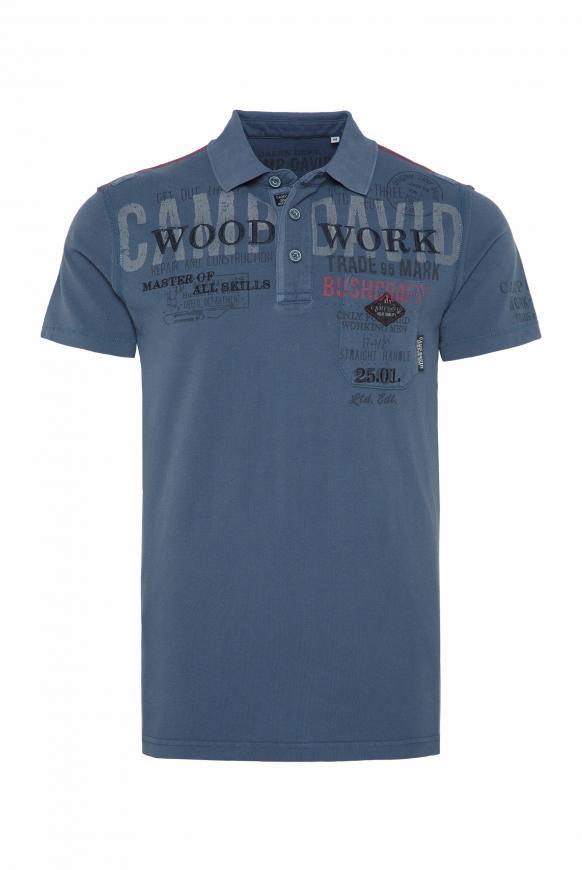 Poloshirt aus Pikee mit Label-Applikationen blue grey