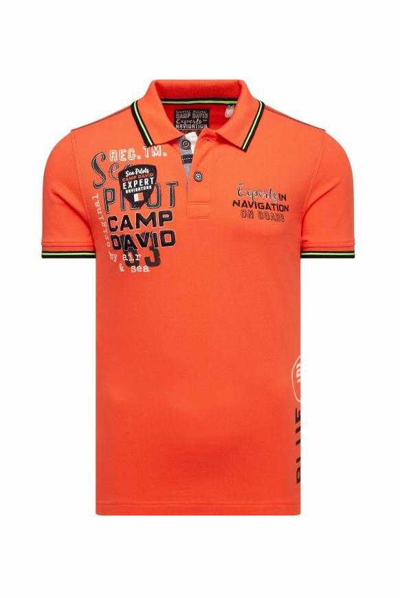 Poloshirt aus Pikee mit vielen Artworks signal orange