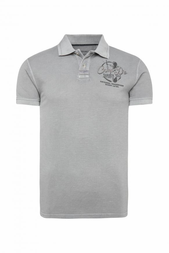 Poloshirt aus Piquee mit Rücken-Print coin grey