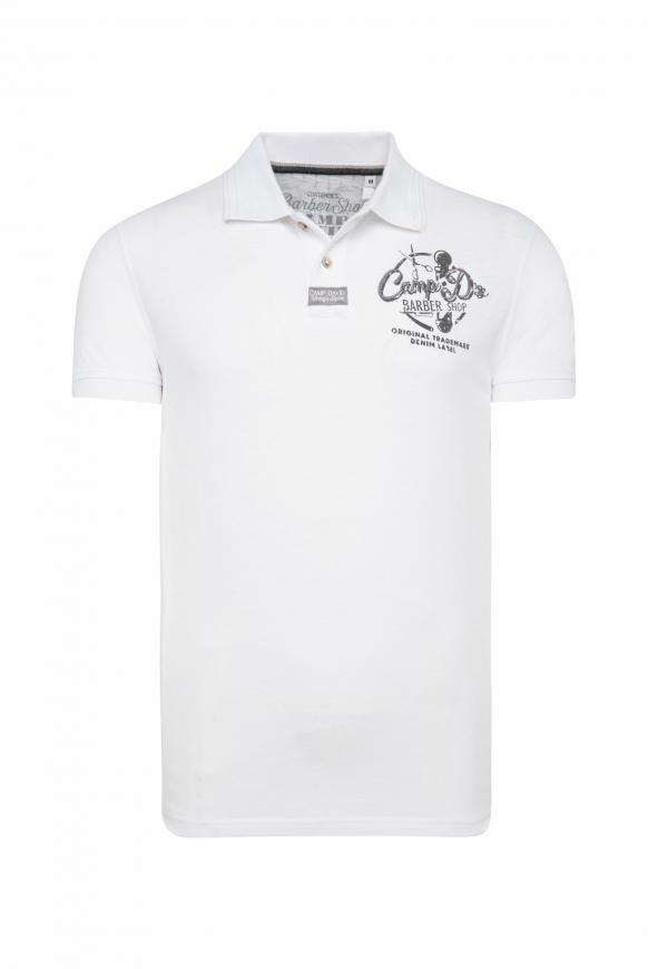 Poloshirt aus Piquee mit Rücken-Print opticwhite