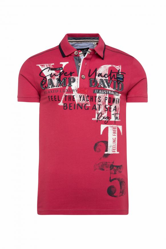 Poloshirt mit Artworks und Kontrast-Details yacht red