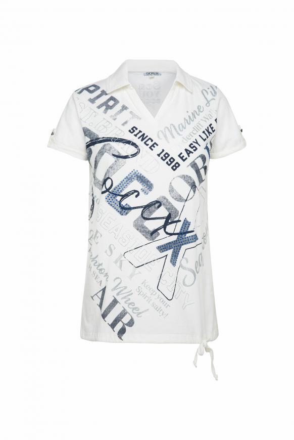 Poloshirt mit glitzerndem Wording Print ivory