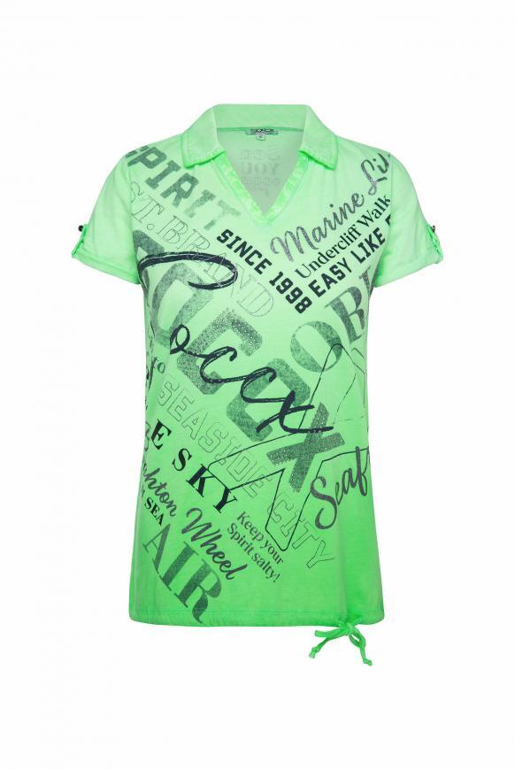 Poloshirt mit glitzerndem Wording Print lime punch