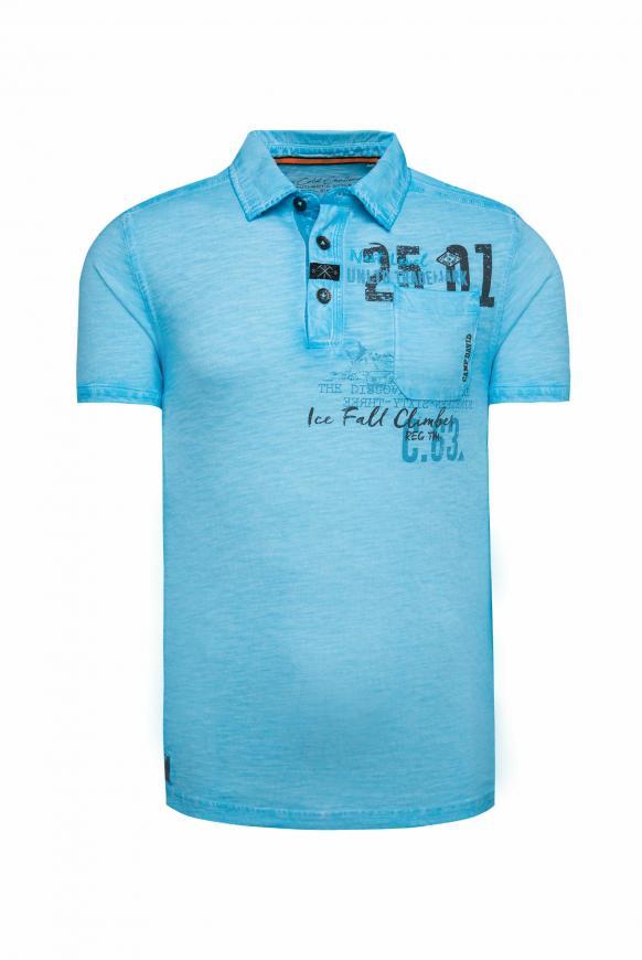 Poloshirt Oil Dyed mit Artworks und Tasche fresh breeze