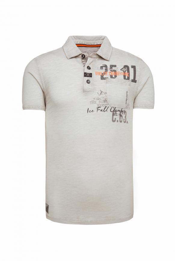Poloshirt Oil Dyed mit Artworks und Tasche silvery