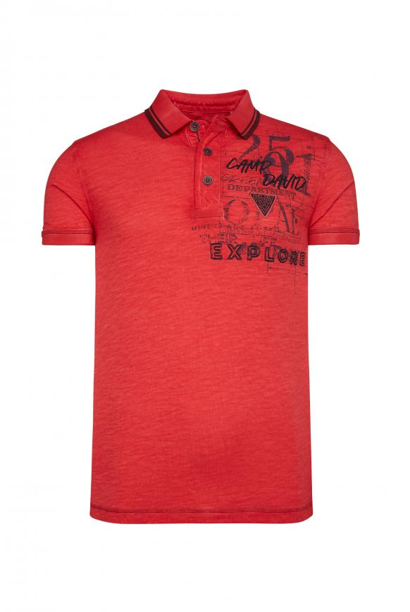 Poloshirt Oil Dyed mit beidseitigen Artworks red orange