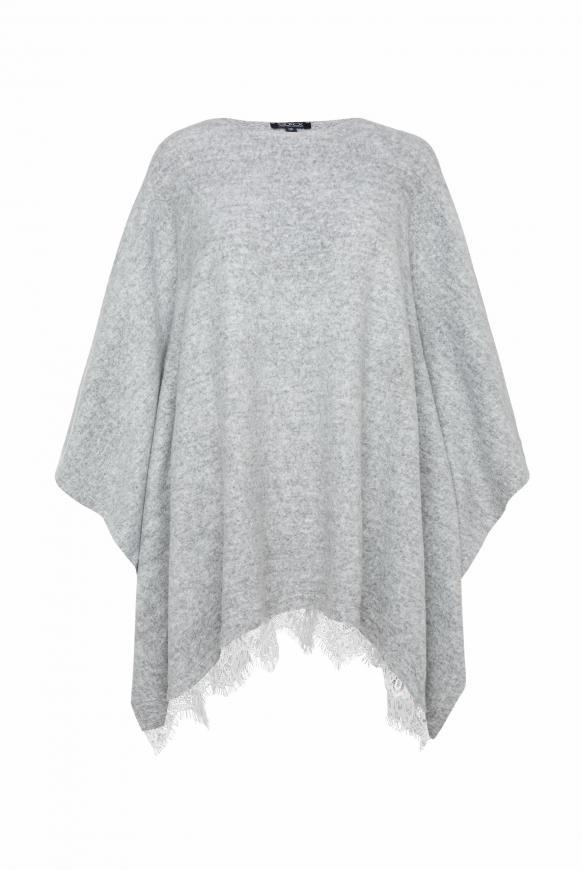 Poncho mit Spitzensaum grey melange