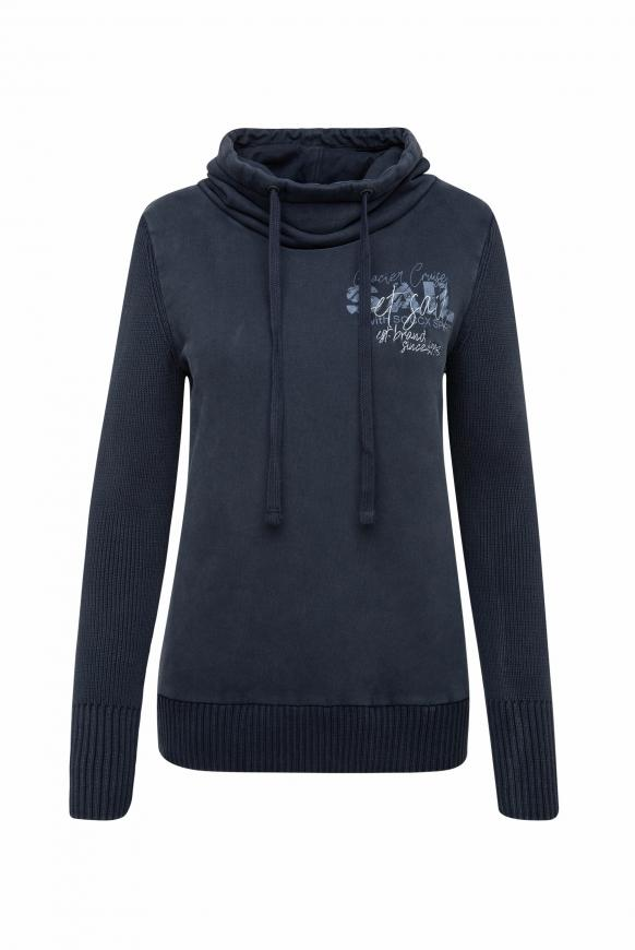 Pullover im Materialmix mit Artwork blue navy