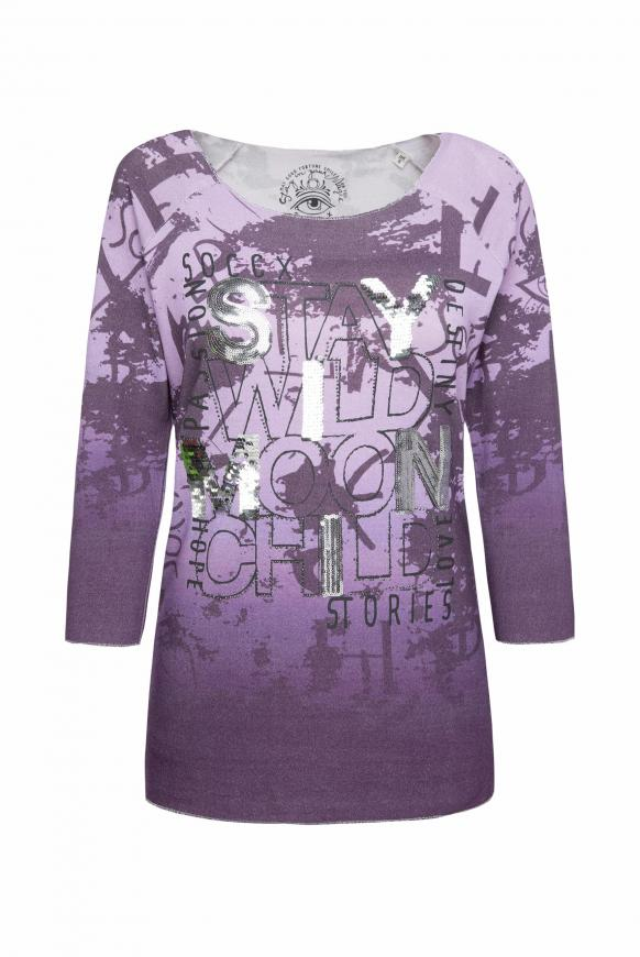 Pullover mit All Over Print und Pailletten soft lavender