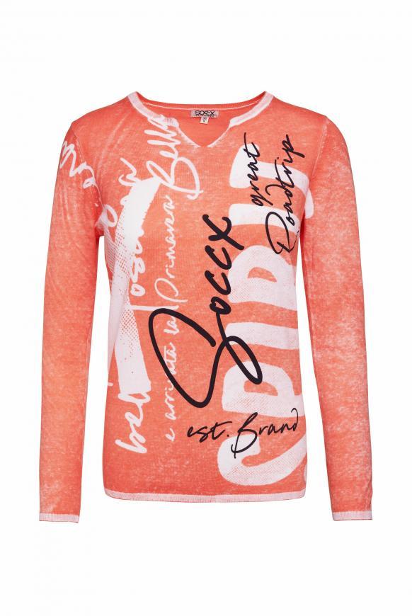 Pullover mit Inside Print und Acid-Effekt neon orange