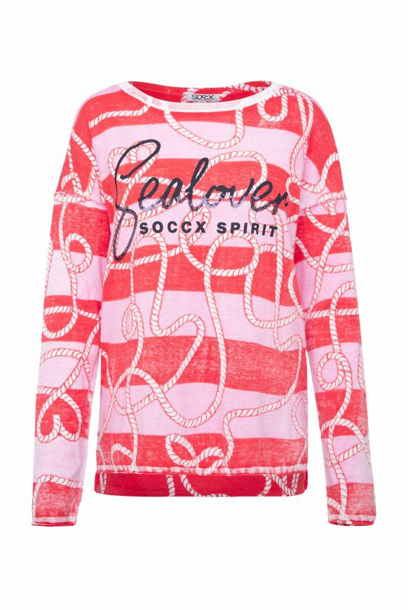 Pullover mit Inside Print und Acid-Waschung flashy red