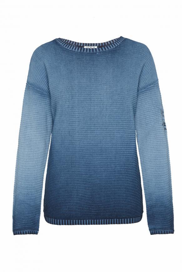 Pullover mit Intarsien-Einsatz am Rücken nautic navy