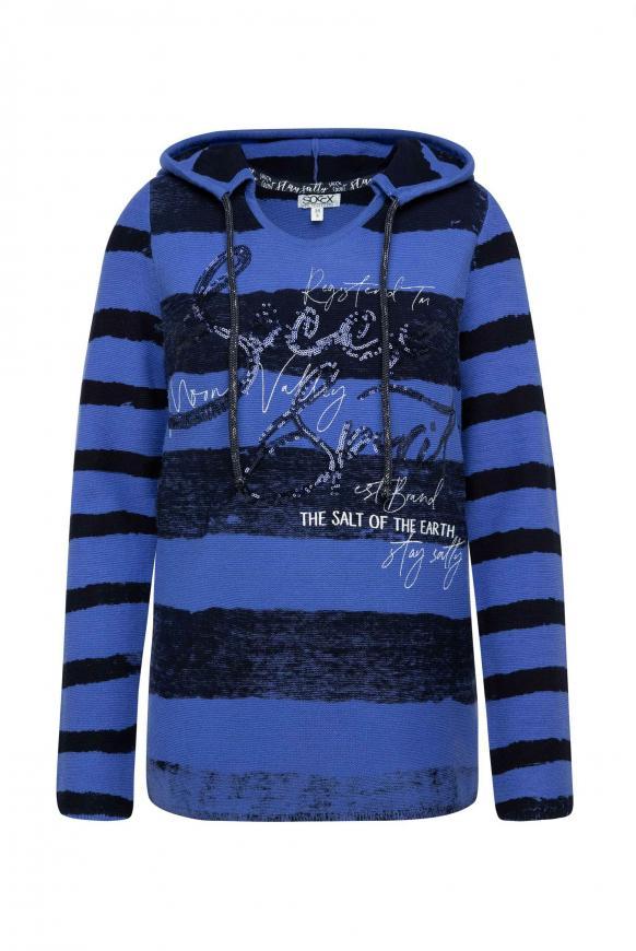 Pullover mit Kapuze, Streifen und Artwork illusion blue