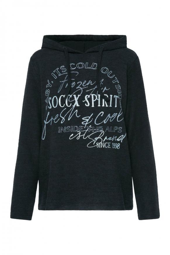 Pullover mit Kapuze und Glitter Print black