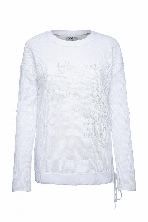 Pullover mit Meshstruktur und Foliendruck opticwhite