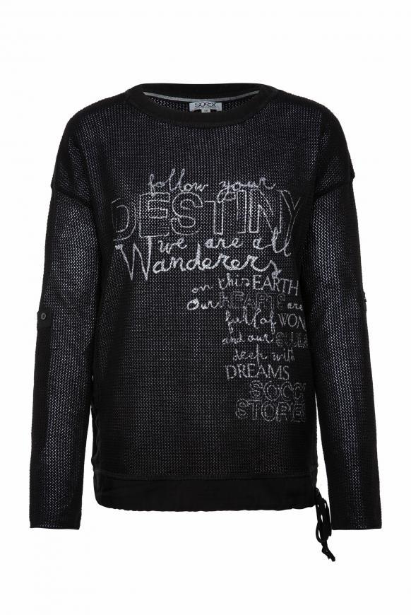 Pullover mit Meshstruktur und Foliendruck black