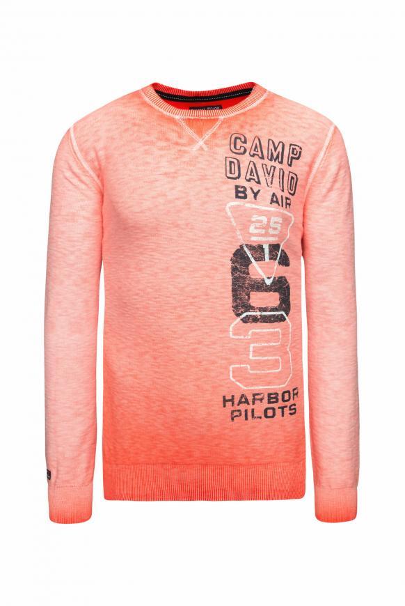 Pullover mit Prints und Used Look signal orange