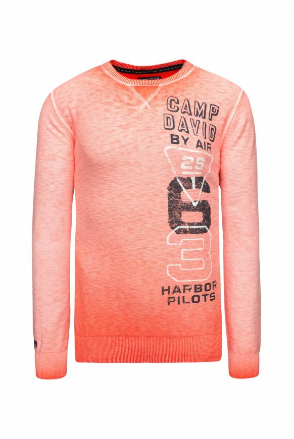 Pullover mit Prints und Used Look signal orange